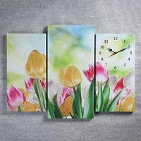 Часы настенные модульные «Тюльпаны», 60 × 80 см