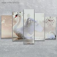 Часы настенные модульные «Белый лебедь», 80 × 140 см