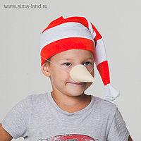 """Карнавальный набор """"Буратино"""", колпак из велюра + нос"""