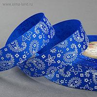 Лента репсовая «Огурцы», 25 мм, 22 ± 1 м, цвет синий