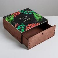 Ящик деревянный 'Новогодняя ботаника', 25 x 25 x 10 см