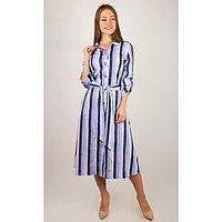Халат женский на пуговицах, цвет голубой, размер 46