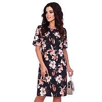 Платье женское «Петра», цвет чёрный/цветы, размер 52