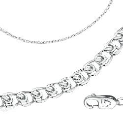 Цепь из серебра, плетение сердечко. Вес: 4,31 гр, длина: 40 см, ширина: 3 мм, покрытие родий, застеж