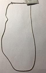 Цепь из серебра, плетение веревочка. Вес: 5,1 гр, длина: 55 см, ширина: 1,5 мм, оксидирование, засте