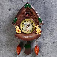 """Часы настенные с кукушкой, серия: Детские, """"Мишки в домике"""", 33х19 см пластик"""