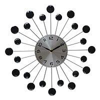 """Часы настенные, серия: Ажур, """"Лучики"""", чёрные кристаллы, d=34 см микс"""