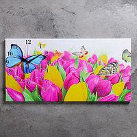 """Часы настенные, серия: Цветы, на холсте """"Бабочки и тюльпаны"""", 40х76  см, микс"""