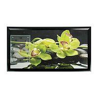 """Часы-картина настенные, серия: Цветы, """"Зеленые орхидеи"""", 50х100 см, микс"""