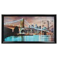 """Часы-картина настенные, серия: Город, """"Бруклинский мост"""", 50х100 см, микс"""