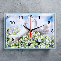 """Часы настенные, серия: Животный мир, """"Пара голубей"""""""" 25х35 см, микс"""
