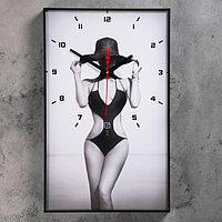 """Часы настенные, серия: Люди, """"Девушка в шляпе"""", 37х60 см"""