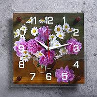 """Часы настенные, серия: Цветы, """"Ваза с цветами"""", 25х25 см, микс"""
