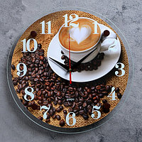 """Часы настенные, серия: Кухня, """"Чашка с кофе"""", 30х30 см, микс"""