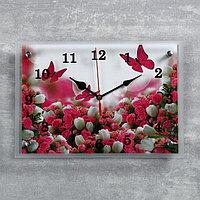 """Часы настенные, серия: Цветы, """"Цветы и бабочки"""", 25х35 см, микс"""