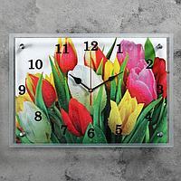 "Часы настенные, серия: Цветы, ""Разноцветные тюльпаны"", 25х35 см, микс"