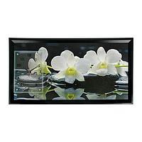 """Часы-картина настенные, серия: Цветы, """"Белые орхидеи"""", 50х100 см, микс"""