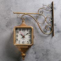 """Часы настенные двойные, серия: Садовые, """"Уличный фонарь"""", бронзовые, 40х31 см"""