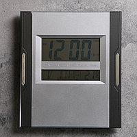 Часы настенные электронные с календарём и термометром, 23х26 см, микс