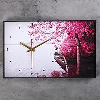 """Часы настенные, серия: Природа, """"Лодка, Фиолетовое дерево"""", 37х60 см , микс"""