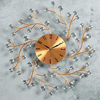 "Часы настенные, серия: Ажур, ""Цветы сакуры"", медные, d=40 см"