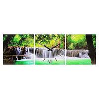 Часы-картина настенные прямоугольные «Водопад в джунглях», 35 × 105 см