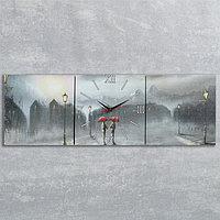 """Часы-картина настенные, серия: Люди, """"Двое под дождем"""", 35х105  см, микс"""