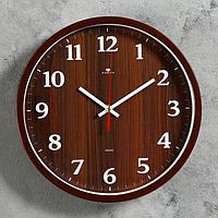 """Часы настенные круглые """"Дерево"""", 30 см, обод коричневый"""