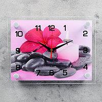 """Часы настенные, серия: Цветы, """"Цветок на камешках"""", 20х26 см"""