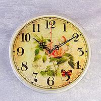"""Часы настенные круглые """"Роза и бабочки"""", 25 см микс"""