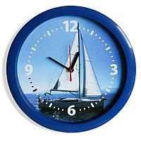 """Часы настенные, серия: Море, """"Парусник"""", синий обод, 28х28 см, микс"""