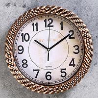 """Часы настенные, серия: Классика, """"Плетёнка"""", 25.5х25.5 см, дискретный ход,"""
