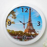 """Часы настенные, серия: Город, """"Эйфелева башня"""", белый обод, 28х28 см, микс"""