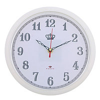 "Часы настенные круглые ""Корона"", 22 см, обод белый"
