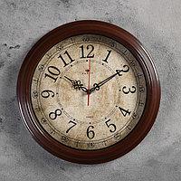 """Часы настенные круглые """"Классика ретро"""", 35 см, обод коричневый"""