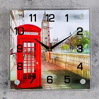 """Часы настенные, серия: Город, """"Английская телефонная будка"""", 25х25 см, микс"""