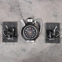 """Часы настенные, серия: Кухня, """"Сангино"""", черные, 26.5х24 см"""