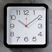 """Часы настенные """"Классика"""", квадратные с закруглёнными углами, 30 × 30 см, чёрные"""