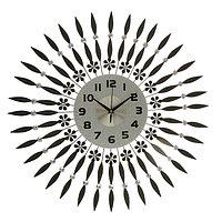 """Часы настенные, серия Ажур """"Чёрные лучики"""", циферблат круглый, стразы, 1 АА, d=63 см"""