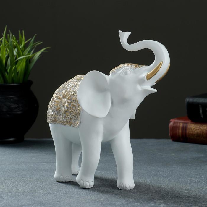 """Фигура """"Слон"""" белый+золото 19х7х20см - фото 1"""