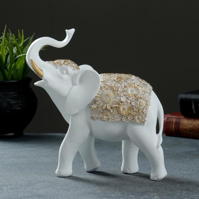 """Фигура """"Слон"""" белый+золото 19х7х20см - фото 2"""