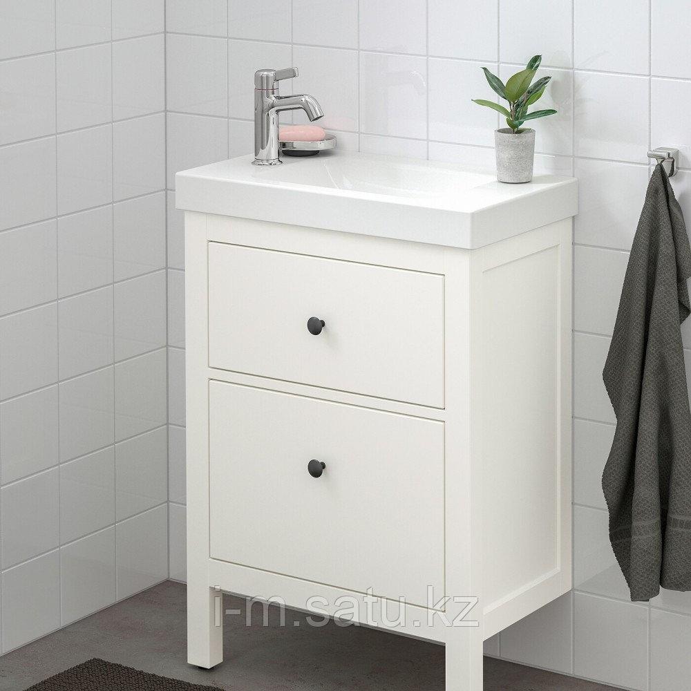 ХЕМНЭС / ХАГАВИКЕН Шкаф для раковины с 2 ящ, белый, ВОКСНАН смеситель, 63x34x90 см