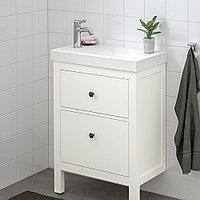 ХЕМНЭС / ХАГАВИКЕН Шкаф для раковины с 2 ящ, белый, ВОКСНАН смеситель, 63x34x90 см, фото 1