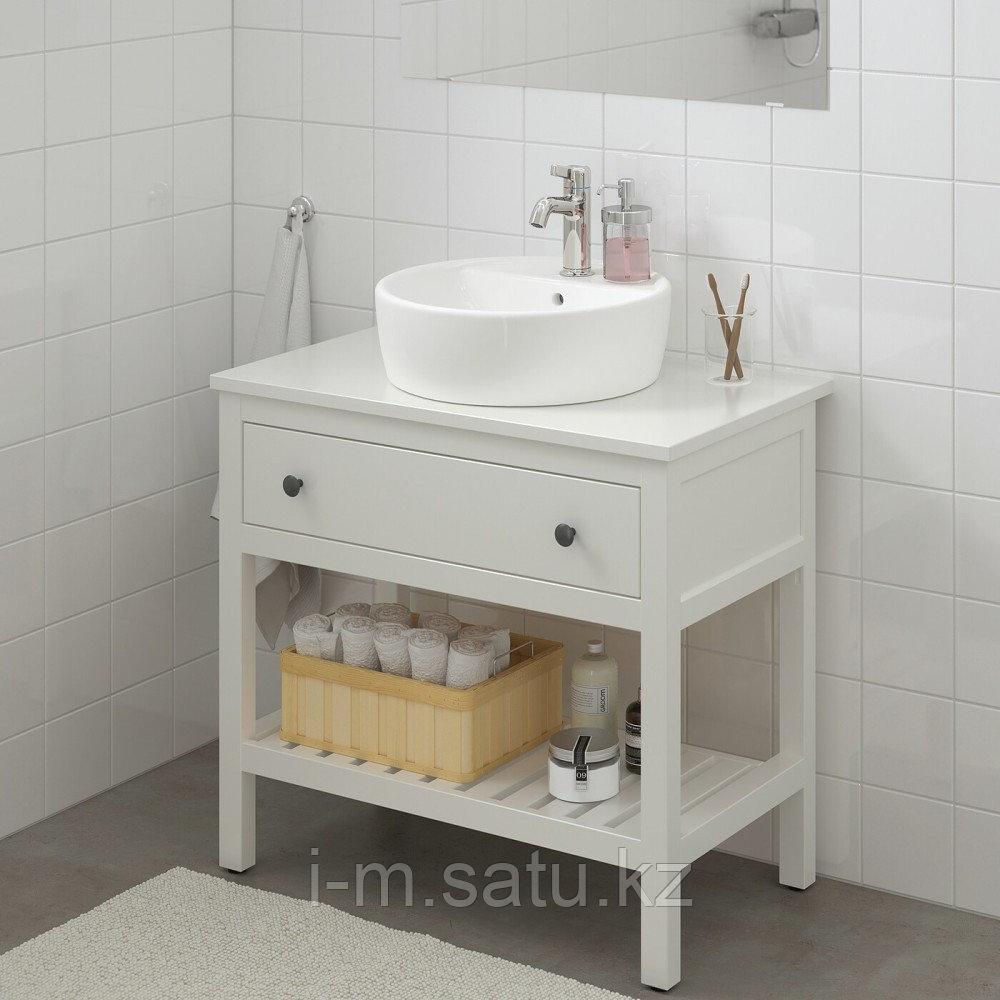 ХЕМНЭС / ТОРНВИКЕН Открытый шкаф для раковины 45, белый, ВОКСНАН смеситель, 82x48x90 см