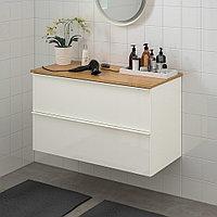 ГОДМОРГОН / ТОЛКЕН Шкаф для раковины с 2 ящ, глянцевый белый, бамбук, 102x49x60 см, фото 1