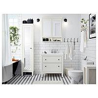 ХЕМНЭС Зеркальный шкаф с 2 дверцами, белый, 83x16x98 см, фото 1