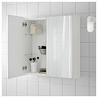 ЛИЛЛОНГЕН Зеркальный шкаф с 2 дверцами, белый, 60x21x64 см, фото 1
