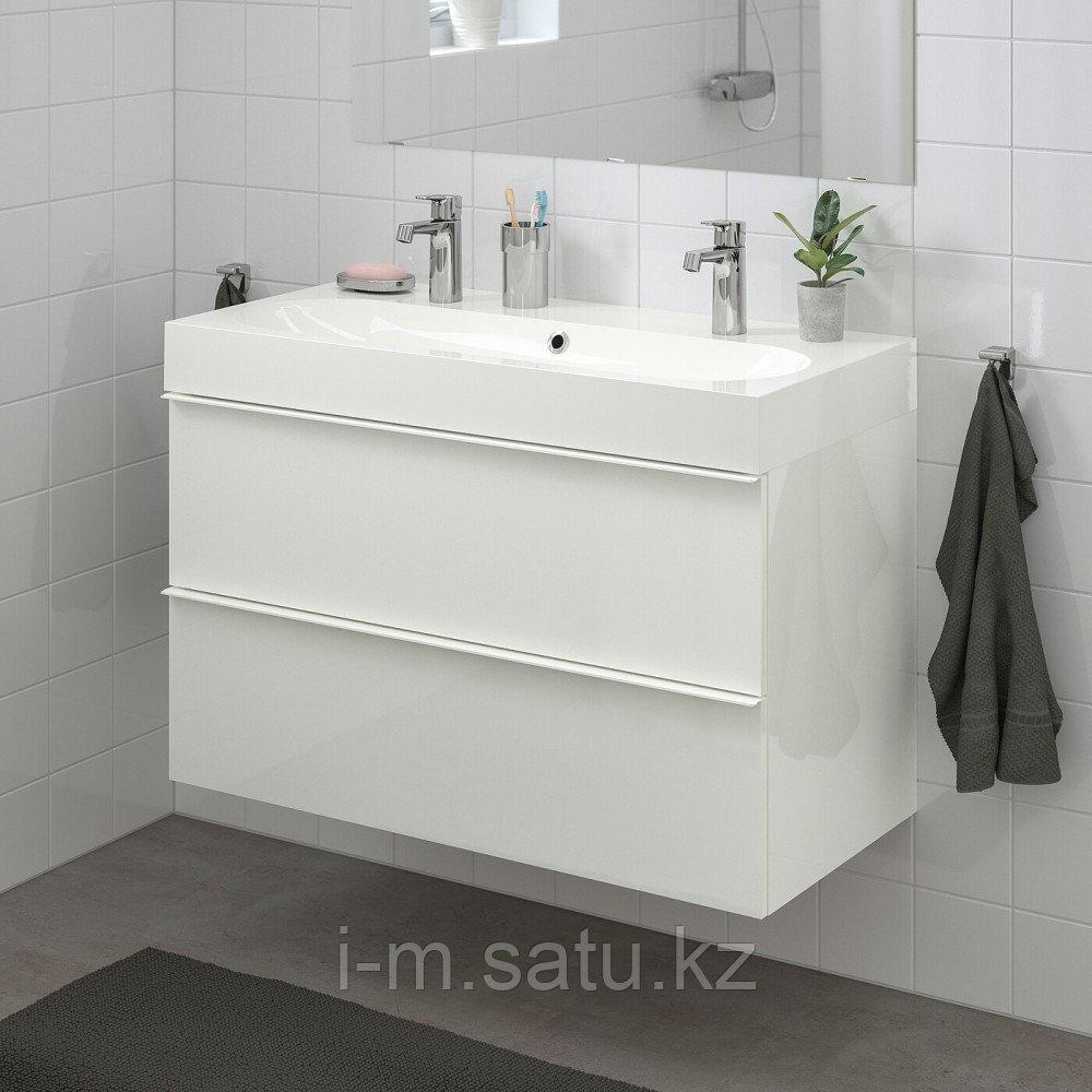 ГОДМОРГОН / БРОВИКЕН Шкаф для раковины с 2 ящ, глянцевый белый, БРОГРУНД смеситель, 100x48x68 см