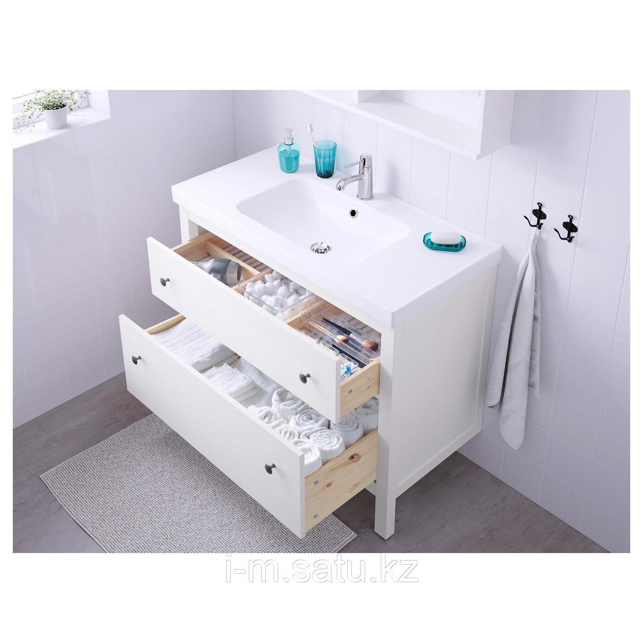 ХЕМНЭС / ОДЕНСВИК Шкаф для раковины с 2 ящ, белый, РУНШЕР смеситель, 103x49x89 см