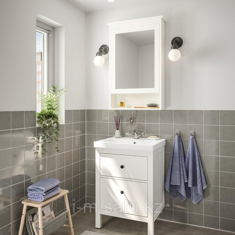 ХЕМНЭС / ОДЕНСВИК Комплект мебели для ванной,4 предм., белый, РУНШЕР смеситель, 63 см
